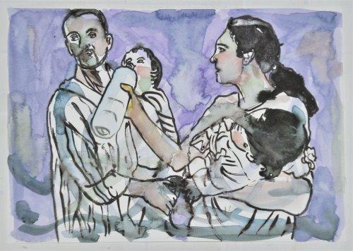 di e serie ''Exodus'' aquarel di Nour-Eddine Jarram