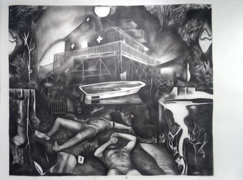 dibujo di Ron Amir, carbon riba pampel